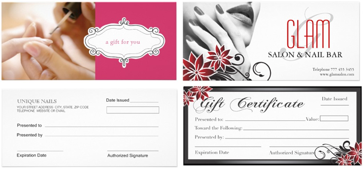 Nail salon gift card template best nails 2018 gift certificates professional design for salons and spas site nail yadclub Choice Image